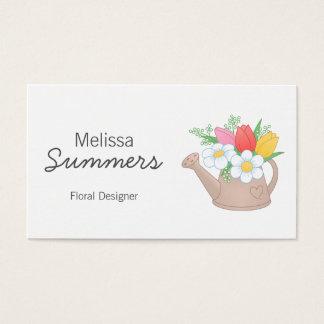 Cartão De Visitas Desenhista do arranjo floral de lata molhando
