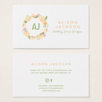 Cartão De Visitas Desenhista floral verde do vestido de casamento da