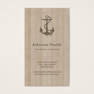 Cartão De Visitas Desenhista industrial - madeira náutica da âncora