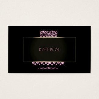 Cartão De Visitas Desenhista preto de cristal do bolo do rosa do