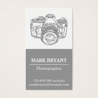 Cartão De Visitas Desenho cinzento da câmera, fotógrafo