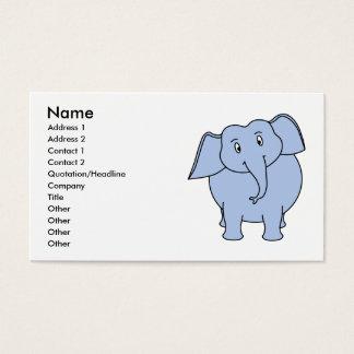 Cartão De Visitas Desenhos animados azuis bonitos do elefante