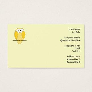 Cartão De Visitas Desenhos animados bonitos da coruja. Amarelo