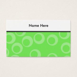 Cartão De Visitas Design do círculo no verde. Teste padrão retro.