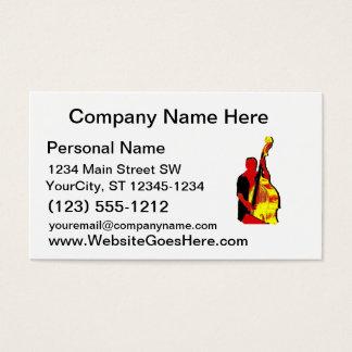 Cartão De Visitas Design ereto da imagem do baixista vermelho e