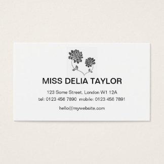 Cartão De Visitas Design floral em preto e branco