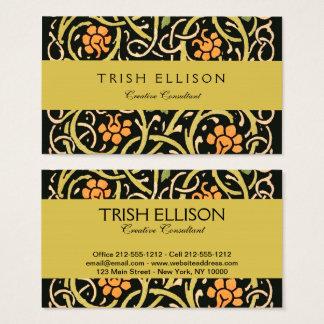 Cartão De Visitas Design floral preto do impressão da arte de
