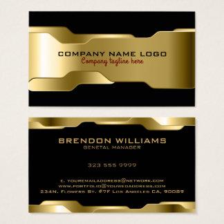 Cartão De Visitas Design geométrico do ouro preto & metálico