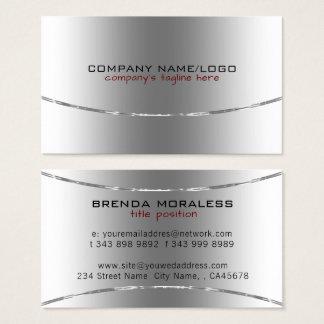 Cartão De Visitas Design metálico moderno da prata do brilho