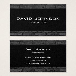 Cartão De Visitas Design simples do tijolo preto e cinzento