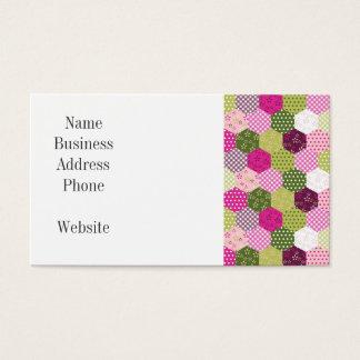 Cartão De Visitas Design verde cor-de-rosa bonito da edredão de