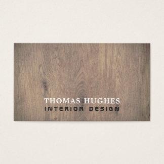 Cartão De Visitas Designer de interiores de madeira elegante mínimo