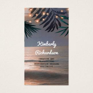 Cartão De Visitas Destino do por do sol da praia das palmas e das