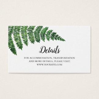 Cartão De Visitas Detalhes verdes do casamento da samambaia.