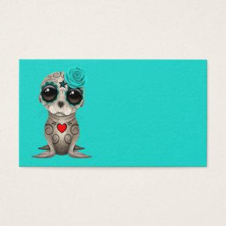 Cartão De Visitas Dia azul do leão de mar inoperante do bebê