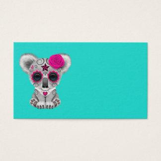 Cartão De Visitas Dia cor-de-rosa do Koala inoperante do bebê