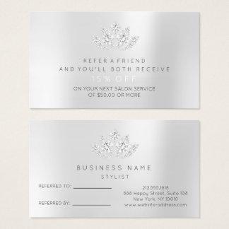 Cartão De Visitas Diamante Lotus do VIP das cinzas de prata do