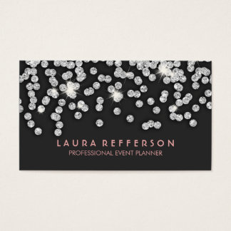 Cartão De Visitas Diamantes de prata modernos lustrosos