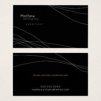 Cartão De Visitas dilua linhas curvadas em um preto moderno