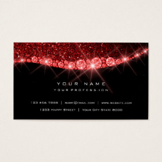 Cartão De Visitas Do brilho Sparkly vermelho do diamante de Borgonha