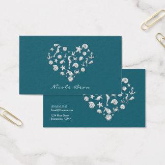 Cartão De Visitas Do coração Glam do diamante da praia costume
