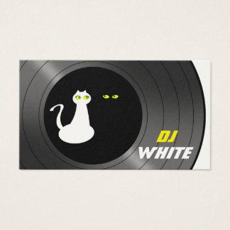 Cartão De Visitas Do preto branco do gato do DJ noite retro da