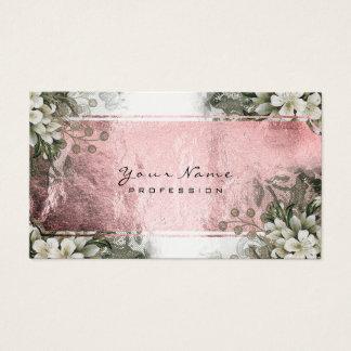 Cartão De Visitas Do rosa floral do rosa do verde da hortelã do