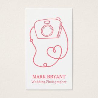 Cartão De Visitas Doodle simples da câmera, fotógrafo do casamento