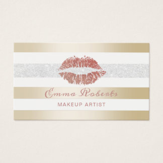 Cartão De Visitas Dos lábios cor-de-rosa do ouro do maquilhador