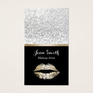 Cartão De Visitas Dos lábios modernos do ouro do maquilhador Sequins