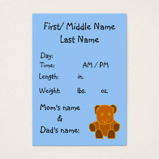 Cartão De Visitas É um menino! - modelo do anúncio do nascimento