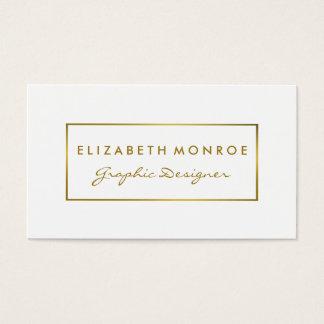 Cartão De Visitas Efeito simples da folha do branco & de ouro