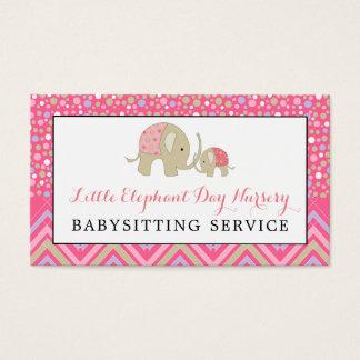 Cartão De Visitas Elefante cor-de-rosa de Boho, Babysitting,