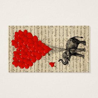Cartão De Visitas Elefante e balões dados forma coração