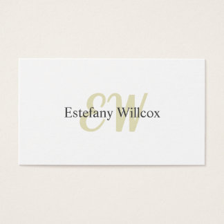 Cartão De Visitas Elegante Blanco Simple Profesional Mínimo