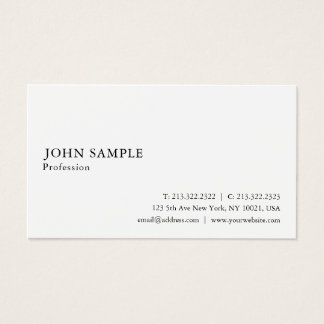 Cartão De Visitas Elegante branco moderno liso lustroso profissional