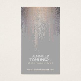 Cartão De Visitas Elegante coram as cinzas do teste padrão da chuva