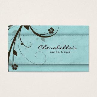 Cartão De Visitas Elegante floral azul aquoso dos termas do salão de