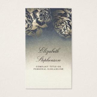 Cartão De Visitas Elegante floral do vintage da folha do marinho e