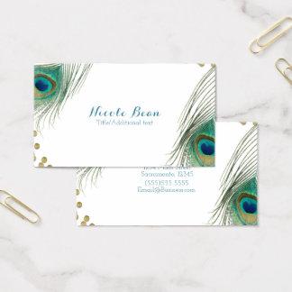 Cartão De Visitas Elegante Glam de Boho dos pontos da pena & do ouro