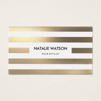 Cartão De Visitas Elegante moderno branco listrado do ouro áspero