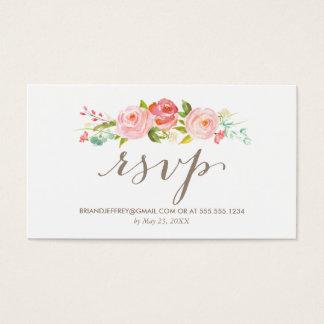 Cartão De Visitas Email floral RSVP do casamento do jardim de rosas
