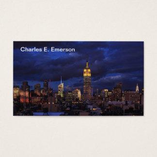 Cartão De Visitas Empire State Building no céu amarelo, crepuscular