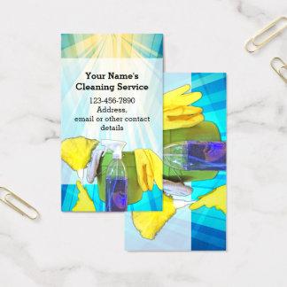 Cartão De Visitas Empresa de serviços feita sob encomenda da limpeza