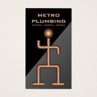 Cartão De Visitas Encanamento de cobre cinzento preto legal do