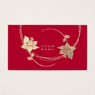 Cartão De Visitas Encanto floral do vinho tinto do Lilac do ouro