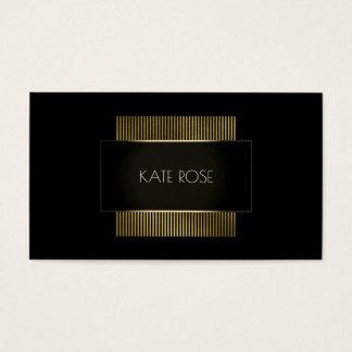 Cartão De Visitas Encanto preto geométrico conceptual mínimo do ouro