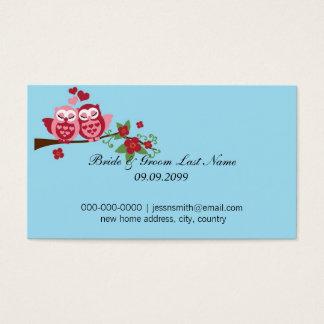 Cartão De Visitas endereço domiciliário novo dos noivos dos pássaros