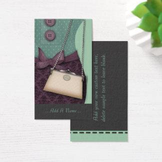Cartão De Visitas Equipamento retro e bolsa do boutique bonito