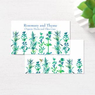 Cartão De Visitas Ervas da aguarela da abelha do tomilho de Rosemary